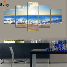 5PCS beautiful ocean sunset landscape Wall painting print on canvas for home decor ideas paints on wall pictures art No framed