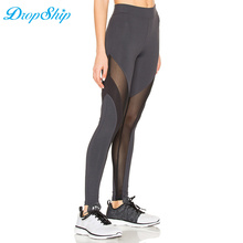 Buy Dropship Women Workout Leggings Black Fitness Womens Clothing Contrast Mesh Color Block Elastic Mesh Panel Insert Leggings for $18.00 in AliExpress store