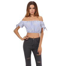 Sexy Blue Stripe Crop Top Off Shoulder Tie Short Sleeve Women's Shirt Slash Neck Short Blouse Top Hot Summer Cropped Feminino(China)