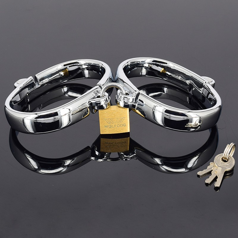 Hand cuffs metal Fetish alloying metal Chain Metal O-Ring Hand cuffs for Adult Game Sex Products Harness Sex Toys female<br>