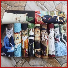 van gogh cat design patchwork hand cloth 100% cotton hand DIY fabric for sewing patchwork diy decoration digital printing patch(China)