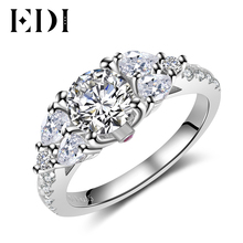EDI Luxury Classic Real 1.25ct Moissanite Diamond Wedding Rings 14k 585 White Gold 3-stone Design Engagement Bands Fine Jewelry(China)
