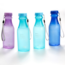 550ml BPA Free Water Bottle Portable Bike Outdoor Sports Water Bottles Unbreakable Frosted Plastic Bottle Lemon Juice Kettle(China)