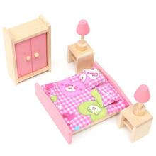 Mini Wooden Bedroom Cute Dolls House Miniature High Quality Pink Furniture Toys Set Best Gift For Children Girls Kid Play Toys