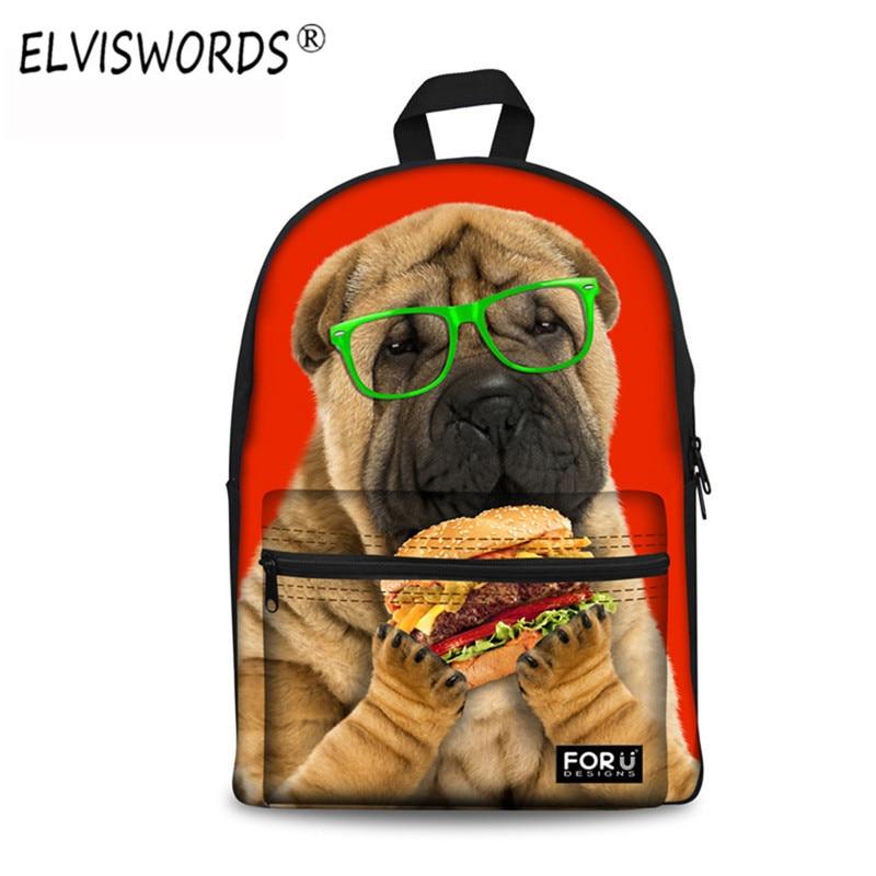 ELVISWORDS 3D Cute Animal Design Backpacks Kids Mochila Masculina For Teenage Girl Boys Cartoon Dog Children Set Backpack School<br>