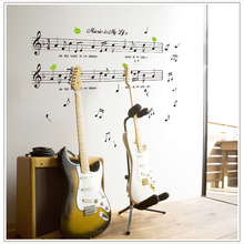 1set Large Size 70*120cm Music Sticker Music Is My Life Theme Music Bedroom Decor & Dancing Music Note Removable Wall Sticker(China)