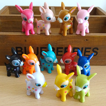 Free shipping 12pcs 4cm colorful Bambi Action Figures Colorful Good Mood Bambi Deer pvc Toys Anime Cartoon Figure For Children