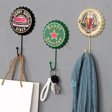 Retro Beer Cover Wall Hook Coat Hooks Clothing Store Dressing Room, Wall Decoration Personalized Hook Iron Hook, Free Shipping!