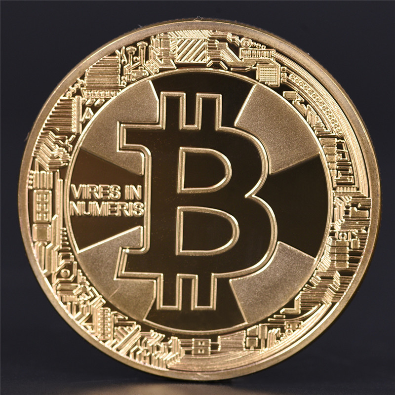 1PCS Gold Plated Bitcoin Coin Collectible BitCoin Art Collection Gift Physical Wholesale