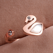 New Stainless steel cute white natural shell swan ring bague femme anel feminino, women's rings rose gold color jewelry anillos