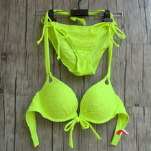 Women Bikini Fluorescent Yellow Bathing suits Sexy biqini UNDERWIRE Maillot de bain Low Waist Designs Secret Swimwear