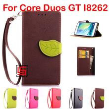 Leaf Clasp PU Leather Flip Wallet Phone Cell Mobile Case Cover For Samsung Galaxy Core Duos GT I8262 I 8262 GT-I8262 Brown Red