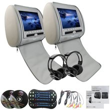 Gray Pair of Headrest DVD Player Monitors 9'' DVD USB SD VIDEO Monitors Region Free Car Dvd Headrests Player+ 2 IR Headphones(China)