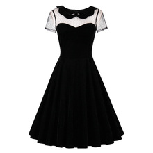 Sisjuly 2017 Summer Female Party Dress Solid Black Dresses Sexy Hollow Out Vintage Gothic Dress Summer Peter Pan Collar Dresses(China)