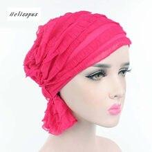 Helisopus Women Hats Muslim Turban Cap Hats Ruffle Chiffon Tripe Hat Chemo Hat Beanies Fashion Headwear for Women(China)