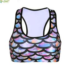 Mermaid Yoga Blusas Halter Sports Bra Colorful Mermaid Fish Scale Underwear Running Vest Bra Seamless Padded Bra Green Red