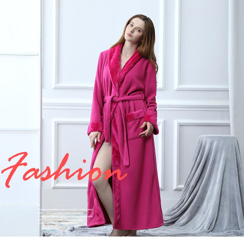 Men Women Thickening Fleece Thermal Extra Long Bathrobe Mens Plus