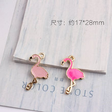 10PCS Animal Bird Flamingo Enamel Alloy Charms DIY Jewelry Findings Ornament Accessories Oil Drop Metal Bracelet Chain Charm