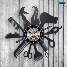 Hairdresser Barber Shop Salon Vinyl Record Wall Clock Art Home Decor Women Gift Decorative Vinyl Record Wall Clock Christmas(China)