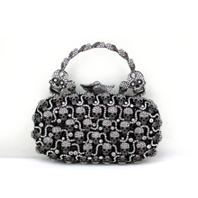 2016 Fashion Bags Black Silver Skull Crystal Clutch for Women Cheap Designer Handbags Quality Brand Evening Clutch with Handle