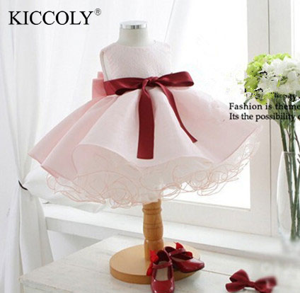 2017 pink tutu vestidos infantis baby girls first communion pageant wedding party dresses for 1 year tollder girl clothing<br><br>Aliexpress