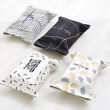 New Black White Tissue Boxes Vintage Napkin Toilet Box Holder Rectangle Fabric Linen Cover Car Home Office Bathroom Decoration(China)