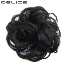 [DELICE] Women's Curly High Temperature Fiber Synthetic Scrunchie Wrap Hair Ring Color Prosted 30g/10cm(China)