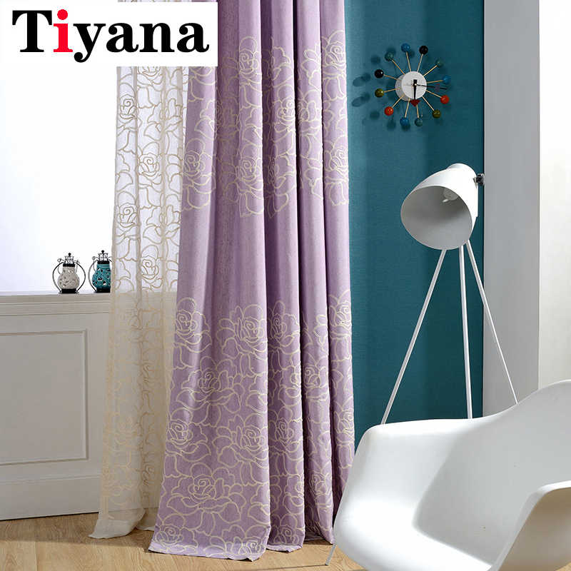Tiyana Rustic Rose Embroidery Linen Purple Curtains For Living Room Custom Made Blinds Pink Cortina For Bedroom Kitchen HP064D2