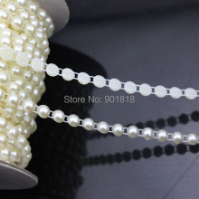 5 yards/lot Dia 6mm Round Wedding Decoration ABS Flat Back White String Pearl Rolls Chain DIY Jewelry Clothes Material F1579(China)