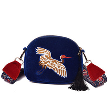 New Fashion Girl Mini Shell Shouder Bag ladies Velvet Tassel Clutch Bag Embroidered Cranes Birds with Wide Strap Women Handbag