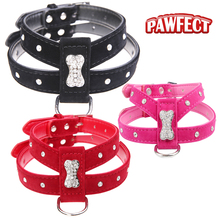 PAWFECT Bling Rhinestone Bone Velvet & Leather Pet Puppy Dog Collar Harness Chihuahua Teacup Care S M L Red Black Hot Pink