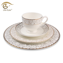 2017 Newly Dinnerware Sets 4 Pieces Gold Inlay Bone china Flower Plant Design Tableware Sets 10.5/8 Inch Plate Cups Saucers Sets