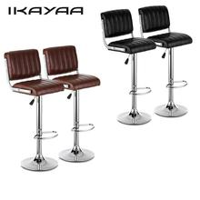 iKayaa 2PCS/Set Bar Chairs Modern PU Leather Bar Chair Swivel Height Adjustable Pneumatic Counter Pub Chairs US UK DE Stock
