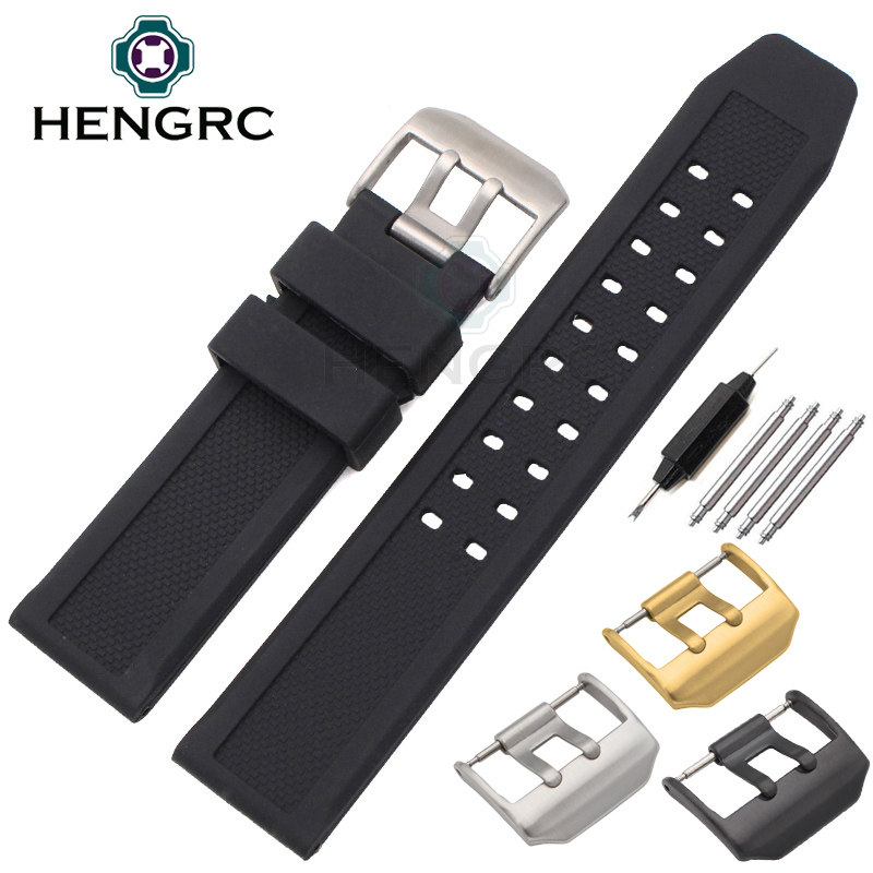 Soft Rubber Watchbands Men Black 23mm Sport Diving Watch Band Strap Silver Black Metal Pin Buckle For Luminox Accessories(China)