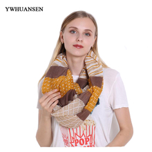 YWHUANSEN Striped Women Infinity Scarf Voile Scarves and Scarves for Women Printing Lady Neck Ring Collar Stoles Circle Shawl(China)