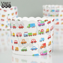 50pcs Big Size Colorful Truck Taxi Bus Mermaid Ariel wedding happy birthday party Paper muffin Dessert Baking cupcake cup(China)
