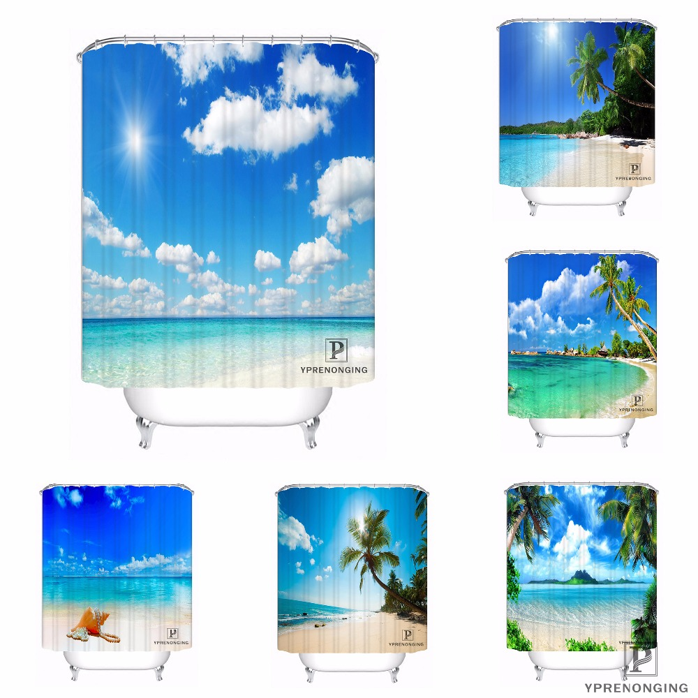 Tropical Sand Palm Tree Bathroom Shower Curtain 12 Hooks Polyester Waterproof