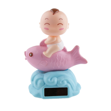 High Quality Solar Powered Dancing Flip Flap Car Home Desk Dancer Bobble Toy Pink Fish Novelty Toy Affordable Gift for Kid Child