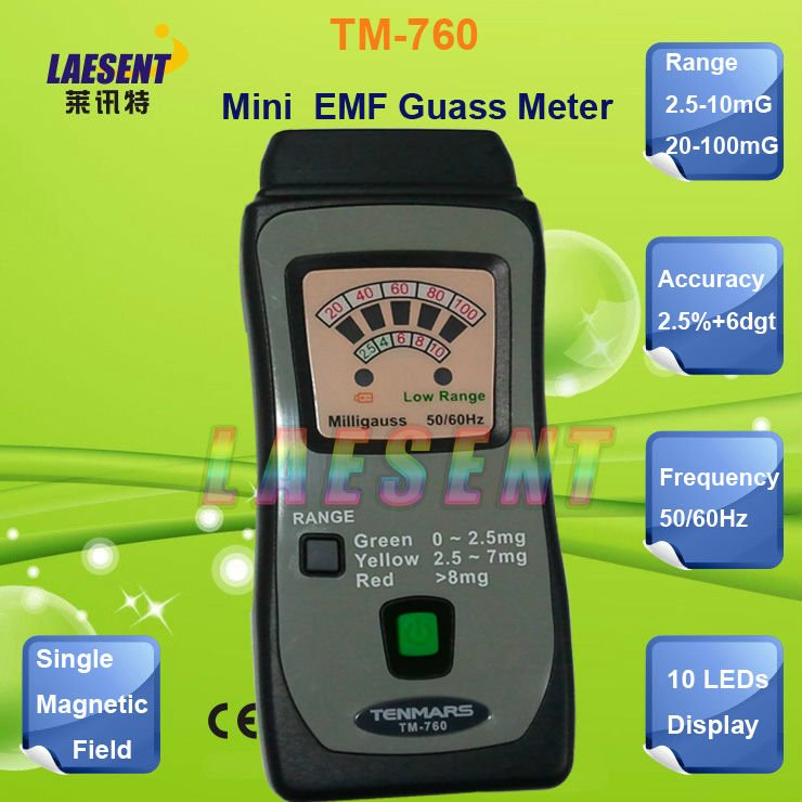 TM-760 Mini  Electro Magnetic Field Radiation EMF Gauss Detector 10/100mG<br><br>Aliexpress