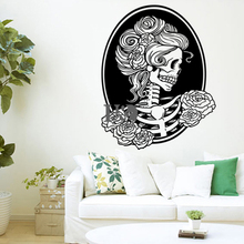 58*74 cm New Qualified Wall stickers Halloween Skeleton Background Decorated Living Room Bedroom Window Stickers Accessories(China)
