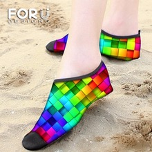 FORUDESIGNS Printing 3D Stylish Rainbow Color Men Swimming Fins Eur Size 25-44 Neoprene Diving Scuba Surfing Swimming Socks Soft