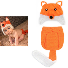 2PCS Baby Hat Set Knitted Clothes Sets Photography Props Newborn Fox Crochet Suit Handmade Infant Apparel Orange Baby Clothing