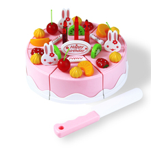 37pcs 5.5inch DIY Birthday Cake Model Children Kids Baby Pretend Play Kitchen Food Plastic Toy 3+ Early Educational Classic Toy