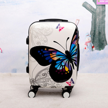 New Hot Sales Women Butterfly ABS Rolling Luggage Set Trolley Suitcase High Quality Luggage 12 20 24 28 Inch Trunk Boarding Box