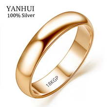 Lose Money Promotion Real Pure Gold Rings For Women and Men With 18KGP Stamp 5mm Top Quality Rose Gold Ring Jewelry JZR050(China)