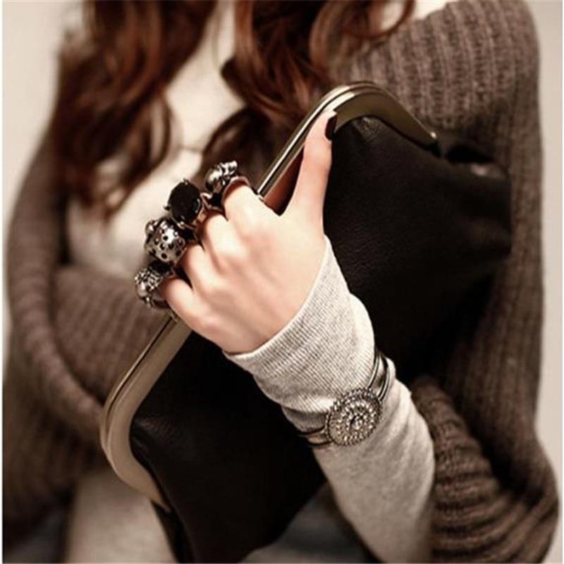 2017 New Fashion Women Handbag Black Knuckle box Women Messenger Bag Designer Evening Bag PU Leather Shoulder Bag HBF39<br><br>Aliexpress