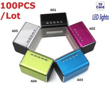 100pcs Factory Direct Sale Portable LED Speaker Subwoofer Sound Box Cell Phone Laptop Tablet PC Micro SD Card Mp3 Mini Speaker(China)