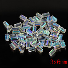 White AB Color 3x6 4x8 6x12mm Rectangular Crystal Glass Loose Long Cube Spacer Beads Pendant for Accessories for needlework