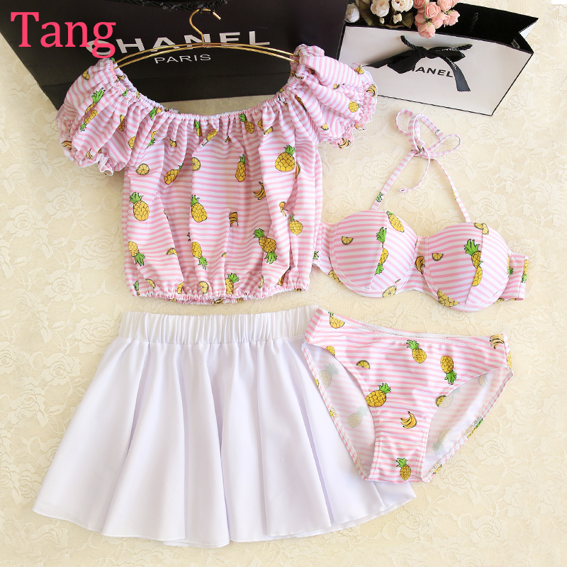 STAR MENG Bikinis female three or four piece small chest thin blouse gather sweet split hot spring swimming suit<br><br>Aliexpress