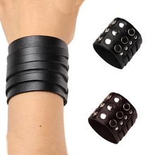 Buy Pure Genuine Leather Bracelets Brand Fashion Punk Wide Cuff Bracelets & Bangle Women Men Jewelry Accessory M814 for $2.35 in AliExpress store